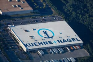 Aerial view of Kuehne + Nagel's Rooftop with Roof Logo applied by Roof Logos