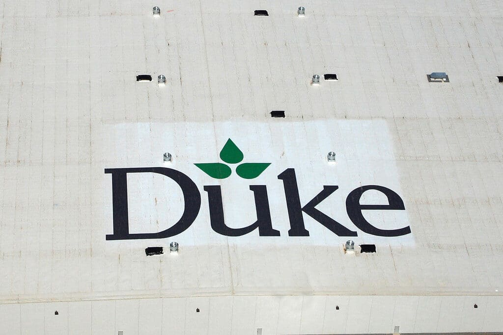 Aerial view of Duke Realty's Rooftop with Roof Logo applied by Roof Logos